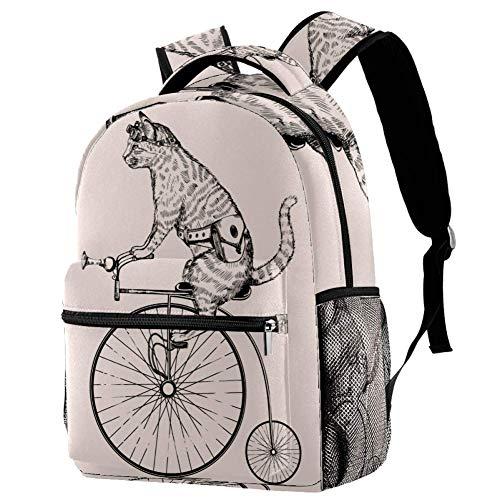 Rucksack Katze, die EIN Einrad reitet Daypack Freizeit Schulrucksack wasserdicht Schulranzen Für Mädchen Jungen & Kinder Damen Herren 29.4x20x40cm