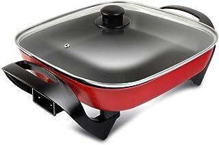 Qilo 1400W eléctrica de múltiples Funciones sartén |Multi Cooker Ideal for freír |Eléctrica sartén con Tapa de Cristal y Antiadherente Superficie (Rojo)
