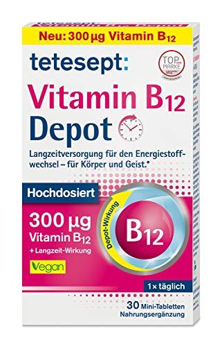 tetesept Vitamin B12 Depot – Hochdosiert mit 300μg Vitamin B12 zur Langzeitversorgung des Energiestoffwechsels - für Körper und Geist - Vegan - 1 x 30 Mini-Tabletten (Nahrungsergänzungsmittel)