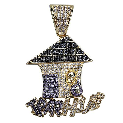 Hip Hop Jewelry Traphouse Pendant & Necklace AAA Cubic Zircon Ketting Bicolor Sieraden Voor Mannen Vrouwen Gift