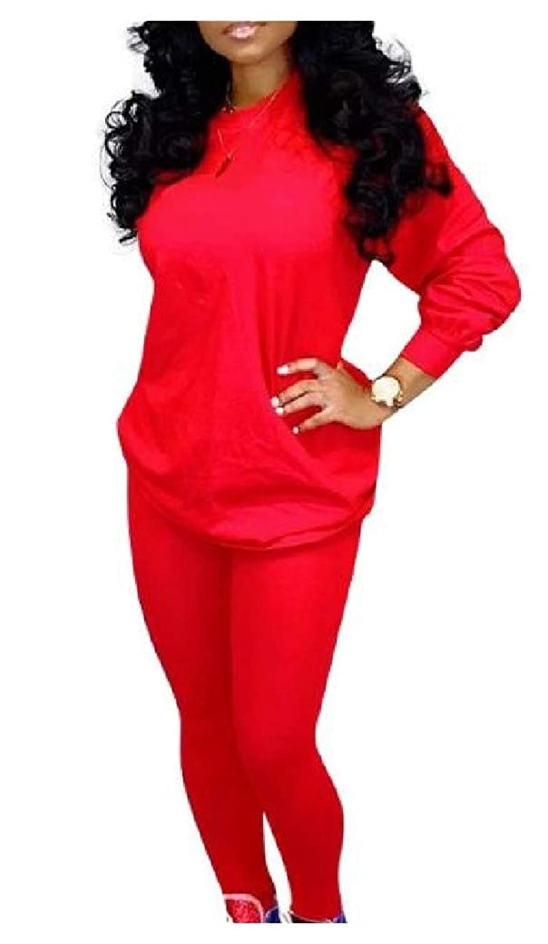 慎重可能にするチャットCandiyer 女性の純粋な色の長袖カジュアルムーブメントトラックスーツトップスポーツバギーパンツの衣装
