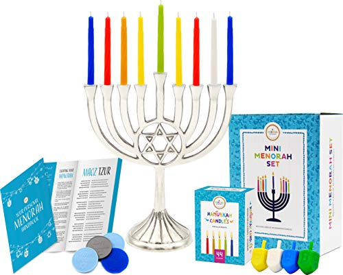 Mini Menorah with Traditional Star Polished Nickel Finish, Mini Menorah 6.75' - Includes Box of 44 Elegant Colored Candles