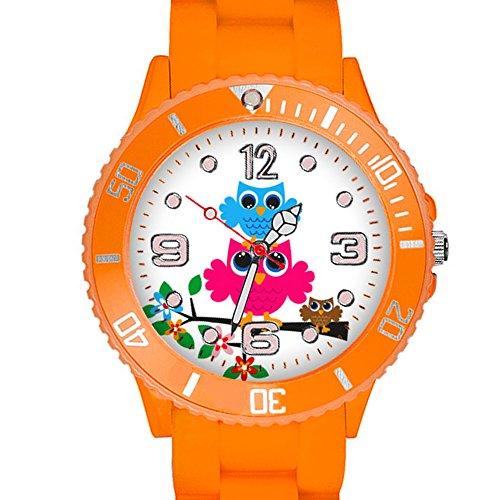 Taffstyle Kinder Armbanduhr Silikon Sportuhr Bunte Sport Uhr mit Blumen Eulen Familie Motiv Analog Quartz Little 34 mm Orange