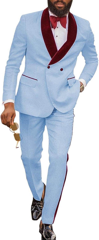 Men's Suit Casual 2 Piece Fashion Jacquard Slim Fit for Wedding Suit (Blazer +Trousers)