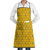 Delantal de cocina con babero, patrón de abeja, cuello, cintura, corbata, bolsillo central, impermeable-1ZK-0D