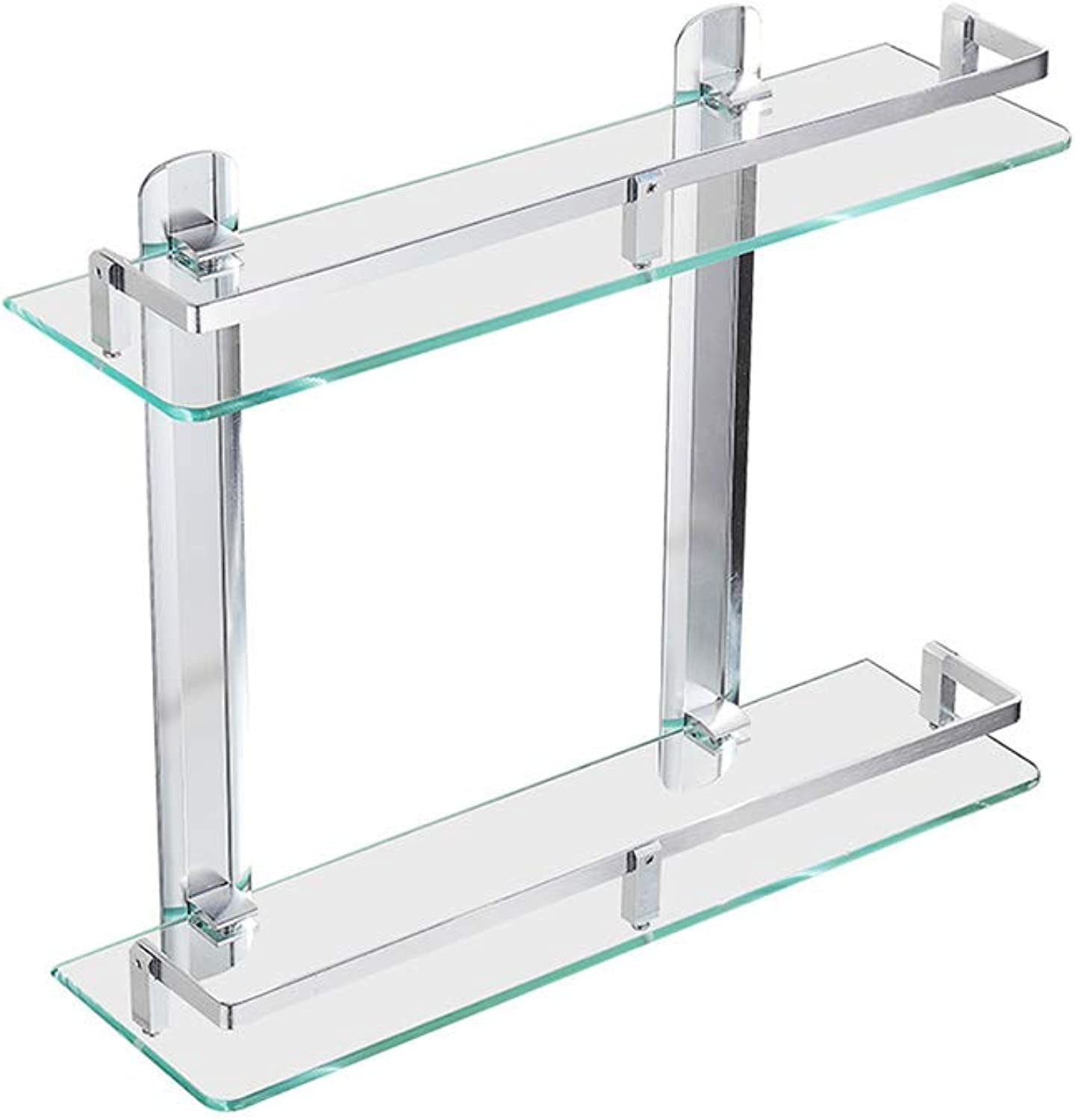 Bathroom Glass Shelf Double Tempered Glass Shelf, Bathroom Shelf, Punch-Free Wall Mount Mirror Front Frame with Space Aluminum Connecting Rod 40 cm Bathroom Shelves