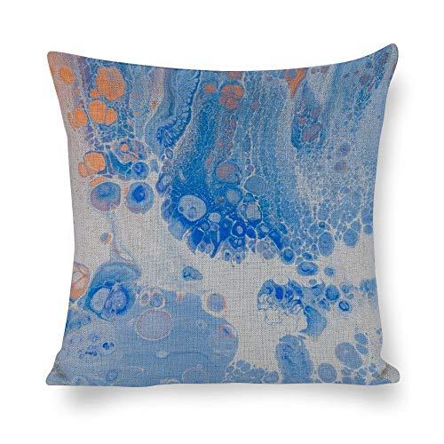 Lino Cojines Flor de Diseño de agua azul eléctrico Funda de almohada...