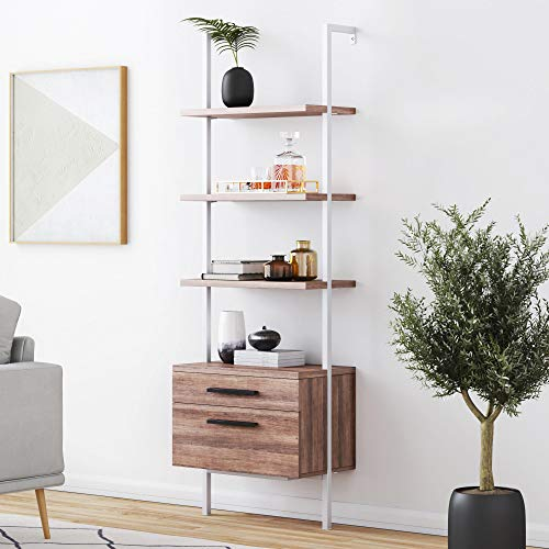 Nathan James Theo Industrial Bookshelf with Wood Drawers and Matte Steel Frame, 3-Tier w, Oak/White