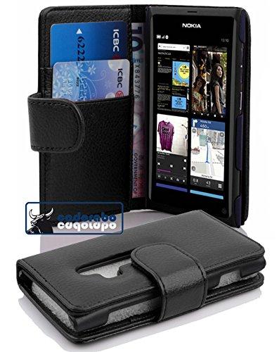 Cadorabo Custodia Libro per Nokia Lumia 800 in NERO PROFONDO - con Vani di Carte e Funzione Stand di Similpelle Strutturata - Portafoglio Cover Case Wallet Book Etui Protezione