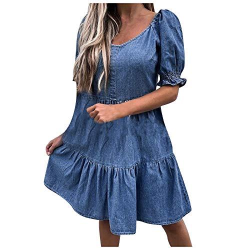 Ansenesna Kleid Jeans Damen Knielang A Linie Elegant Kleider Frauen Kurzarm Denim Sommerkleid (Blau,XL)
