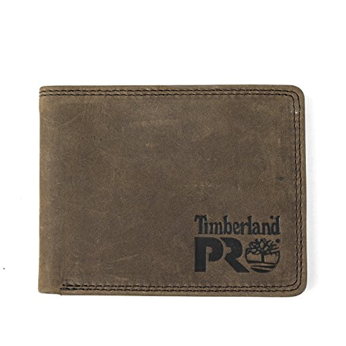 Timberland PRO Men's Slim Leather RFID Bifold Wallet with Back ID Window, Dark Brown/Pullman, One Size