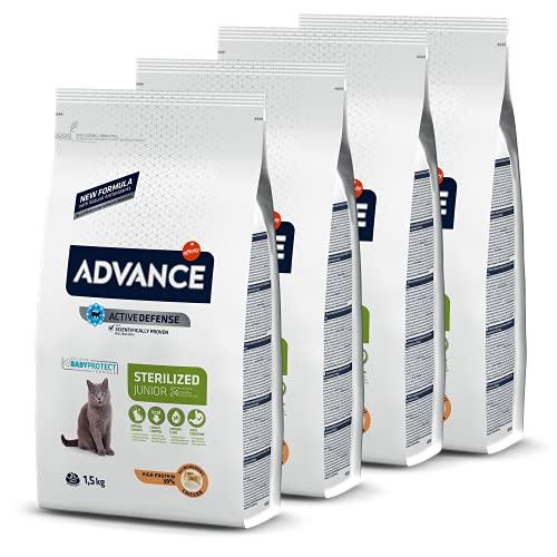 Advance Junior Sterilized - Pienso para Gatos esterilizados de hasta 2 años de Edad - 1.5 kg x 4