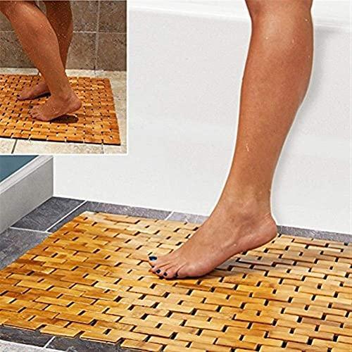 Alfombra de baño de bambú multiusos, para ducha, spa, sauna con pies antideslizantes  Uso en interiores al aire libre para cocina dormitorio baño inodoro felpudo felpudo para mascotas  50 X 70 Cm