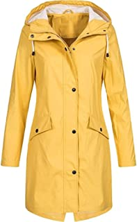 LUKEEXIN Women Long Sleeve Hooded Raincoat Windbreaker Hiking Ladies Casual Solid Color Outdoor Waterproof Trench Coats