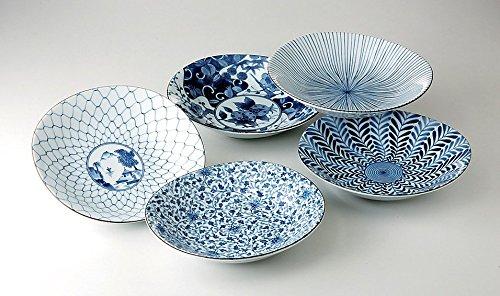 Japanisches Teller-Set TAYOZARA 5er Set in Geschenkbox hergestellt in Japan 22 x 20 cm, H. 4,2 cm