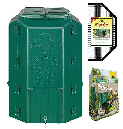 Neudorff 775 DuoTherm - Compostiera termica da 530 litri, con griglia per topi e acceleratore di compostaggio Radivit (5 kg)
