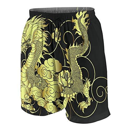 AMIGGOO Troncos de natación de los Hombres,Dragón japonés Dorado para Fondo de Pantalla y,Trajes de baño de Ropa de Playa Trajes de baño Shorts de baño Trajes de baño de Malla y Bolsillos