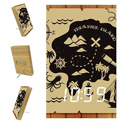 Vockgeng LED Wecker digitaler Wecker Piratenkarte LED Tischuhr mit Temperaturanzeige,USB Wiederaufladbar Reisewecker mit 3 Alarmen, Schallinduktion Funktion, 12/24H 15.7x10x2.3cm