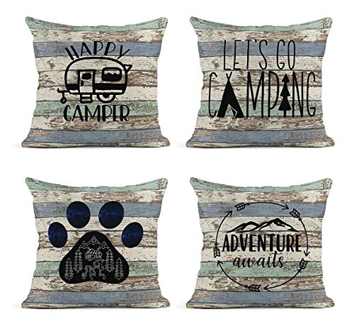 ArtSocket Set of 4 Linen Throw Pillow Covers Lettering Royalours Camping Happy Camper Rustic Wood Inspirational Words Decorative Pillow Cases Home Decor Square 18x18 inches Pillowcases