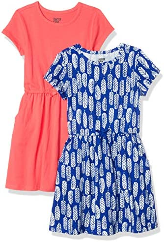Spotted Zebra Girls Kids Knit Short Sleeve Cinch Waist Dresses 2 Pack Feathers Red Small product image