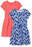 Amazon Brand - Spotted Zebra Kids Girls Knit Short-Sleeve Cinch-Waist Dresses, 2-Pack Feathers/Red, XX-Large