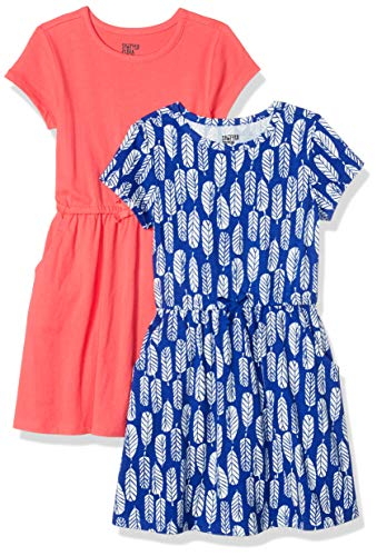 Spotted Zebra Girls' Knit Short-Sleeve Cinch-Waist Dresses, 2-Pack Feathers/Red, Small