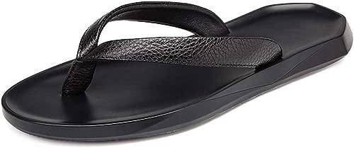 Flip Flops Thong Sandalen Mit Arch Support Leichte Dusche Strand Schuhe Leder rutschfeste Bequeme Hausschuhe Sommer (Farbe  Schwarz, Größe  7,5 UK)