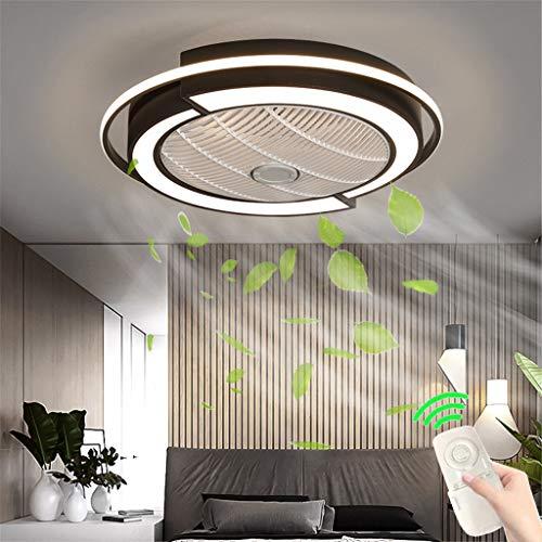 Unsichtbares Fan Deckenventilator Mit Fernbedienung LED Licht Einstellbare Windgeschwindigkeit Dimmbar Moderne Deckenleuchte Für Leise Ventilator Schlafzimmer Wohnzimmer Esszimmer Lamp Schwarz 53cm