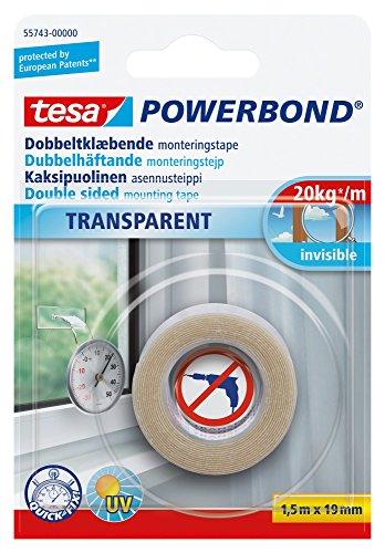 tesa doppelseitiges Montageband Powerbond TRANSPARENT, 1,5m