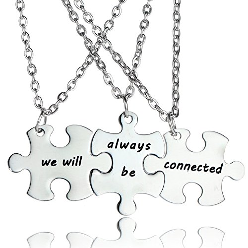 3PCS We Will Always Be Connected Necklace Set, Best Friends Necklace for 3, Friendship Jewelry Gift for Sisters Friends