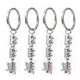 RONRONS 4 Pack Mini Train Shaped Alloy Keychains Keyring Creative Key Fob Gift,Silver