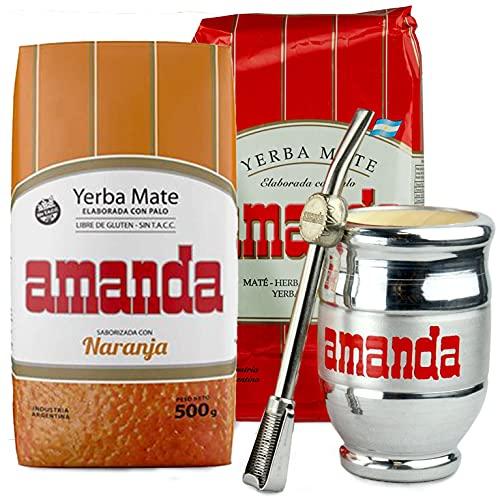 Juego de té mate: Yerba Mate Tee Amanda Naranja 0,5 kg + tradicional 0,5 kg | Acero inoxidable / palito santo madera mate taza – Kalebass | Pajita de acero inoxidable – Bombilla | Cepillo de limpieza