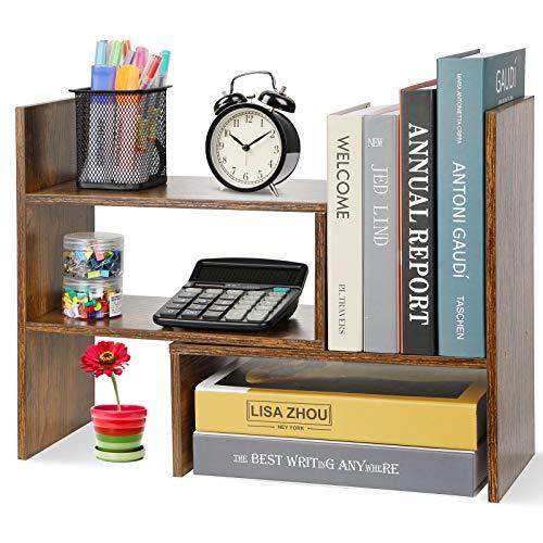 Hossejoy Estantería para libros, ajustable, estantería para libros, soporte para estantería, ampliable, estantería de madera para oficina, salón (marrón)
