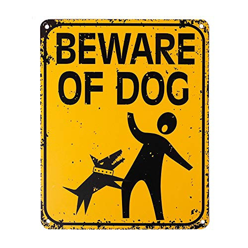 WaaHome Funny Beware of Dog Sign 8'' X 10'' Metal Beware of Dog Warning Signs for Fence House Home