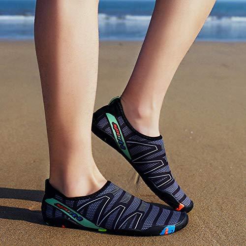 Deportes Acuáticos Zapato,Extra Cómodos Zapatos de Agua,Par de Zapatos de natación Playa Zapatos de Buceo Ocio Outdoor-Gray_38