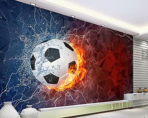 De acuerdo con papel DE parede infantil, balón de fútbol en agua y fuego para habitación de niños, pared de sala de estar, papel tapiz de vinilo impermeable