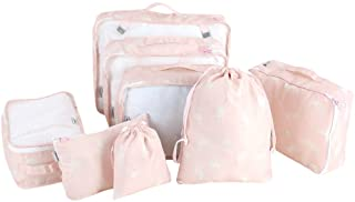 OhhGo 8Pcs Portable Clothes Storage Bag Underwear Packing Travel Luggage Organizer Pink Alpaca