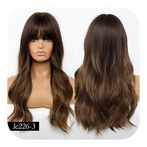 PJPPJH Perruques pour Femmes Cheveux Humains Longue Couleur Brune Vague synthétique avec Une Frange soignée pour Les Femmes Blanches/Noires