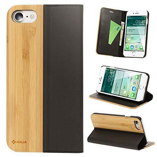 NALIA Echt-Holz Flipcase kompatibel mit iPhone SE 2020/8 / 7 Hülle, Premium Wood Etui Handyhülle mit Klappe, Handy-Tasche Phone Hülle Cover Schutzhülle Flipcover Klapphülle Bookcover, Farbe:Bambus
