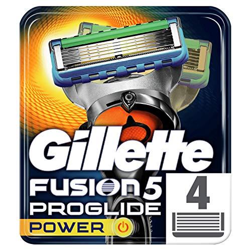 Gillette Fusion ProGlide Power - Lame di ricambio per rasoio, 4 unità, l\'imballaggio può variare