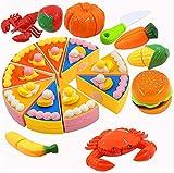 PHYLES 29 Pezzi Tagliare i Giocattoli,Finti Alimenti,Giocattoli di Plastica per Tagliare Cibo,Gioco di Ruolo Piccolo Cuoco per Bambini,Cucina di Simulazione di educativi per Bambini in età prescolare