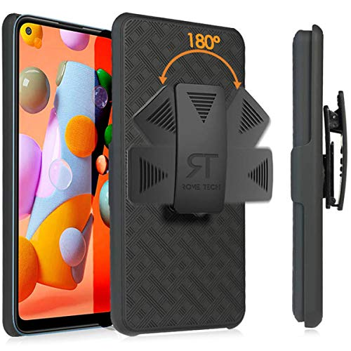 Rome Tech Holster Case with Belt Clip for Samsung Galaxy A11 [ONLY] Slim Heavy Duty Shell Holster Combo - Rugged Phone Cover with Kickstand and Clip Holder for A11 Samsung - Black