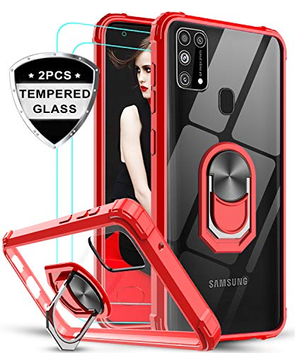LeYi für Samsung Galaxy M31 Hülle mit Panzerglas Schutzfolie(2 Stück), Ringhalter Schutzhülle Crystal Clear Acryl Cover Air Cushion Bumper Handy Hüllen für Case Samsung Galaxy M31 Handyhülle Rot