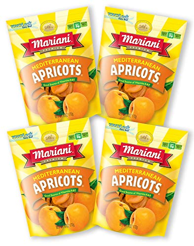 Mariani - Dried Mediterranean Apricots - 6oz (Pack of 4) - Gluten Free, Vegan, Resealable Bag - Healthy Snack for Kids & Adults