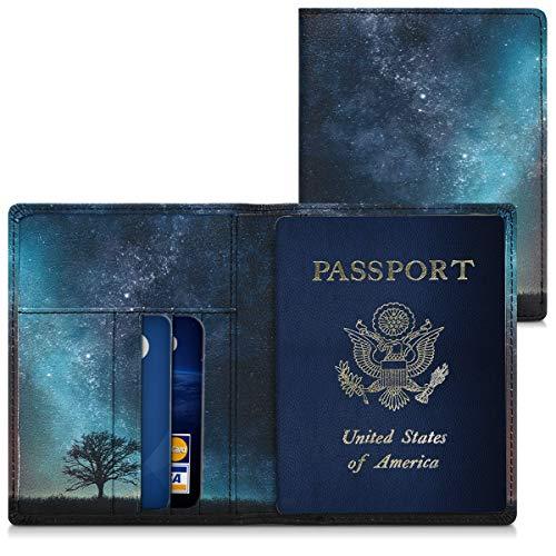 kwmobile Porta passaporto in pelle sintetica - Scomparti carte foderina per passaporto in similpelle - Custodia porta documento - blu/grigio/nero Natura e spazio