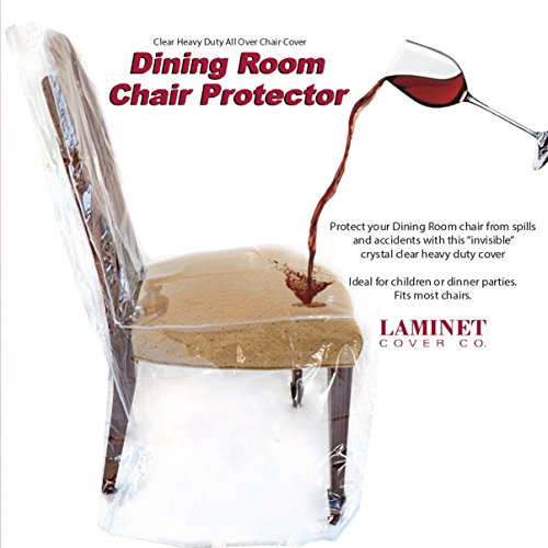"""LAMINET Heavy-Duty Crystal-Clear Dining Chair Protectors - Protects Your Dining Room Chair from Dust, Dirt, Spills, Pet Hair, Paws and Claws! Fits Chairs Up To 41""""BH x 20""""FH x 20""""W x 22""""D - SET OF 4"""