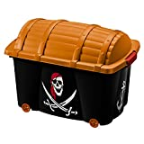 Deuba Caja de almacenamiento infantil para juguetes baúl organizador con tapa ruedas 50L Diseño pirata 60 x 40 x 43cm