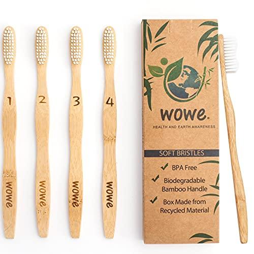 Wowe Lifestyle Natural Organic Bamboo Toothbrush Wood, Ergonomic Biodegradable Handle, Soft BPA Free Bristles, Pack of 4
