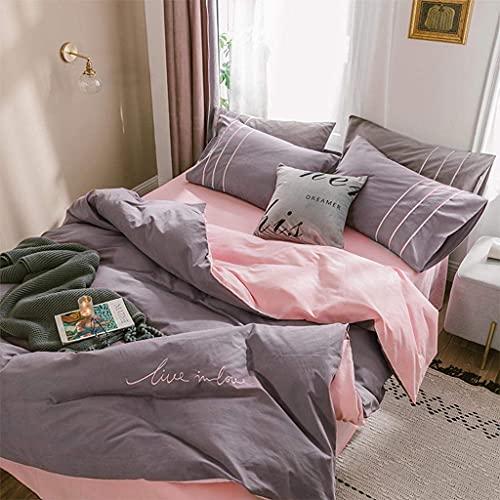 Riyyow Conjunto de Tapa de edredón 4 Piezas Conjunto de Cama de edredón Completo  Conjunto de Ropa de Cama Completo Incluye x1 Cubierta de edredón x2 Pillowcases y x1 Hoja Ajustada