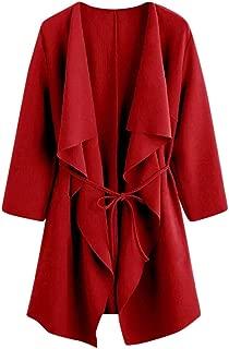 haoricu Women's Waterfall Collar Cardigan Ladies Open Front Wrap Draped Jacket Solid Color Outwear